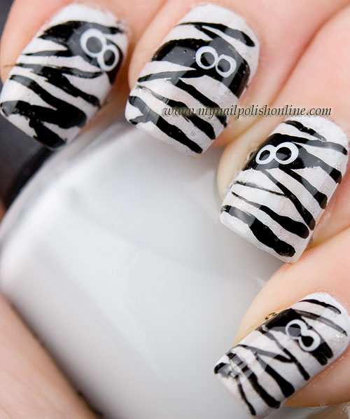 Halloween Nail Art - Mummy Nails - My Nail Polish Online