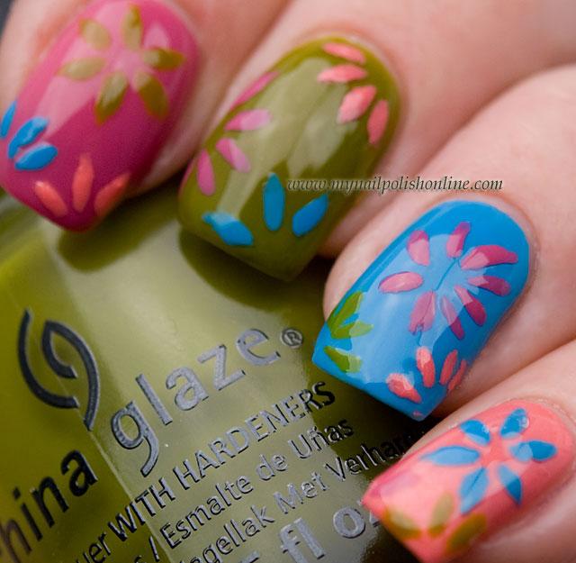 Nail art with China Glaze - Avant Garden polishes at Eleven.se