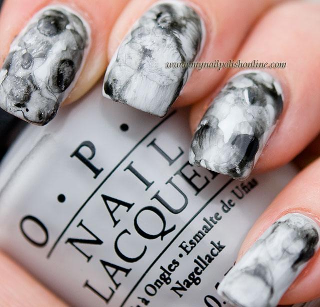 Black and white watercolor manicure