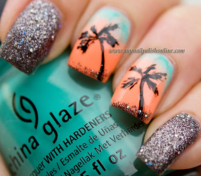 Summer nails – Nail art featuring palms