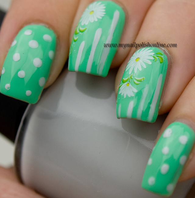 Nail Art - flowers, dots and stripes