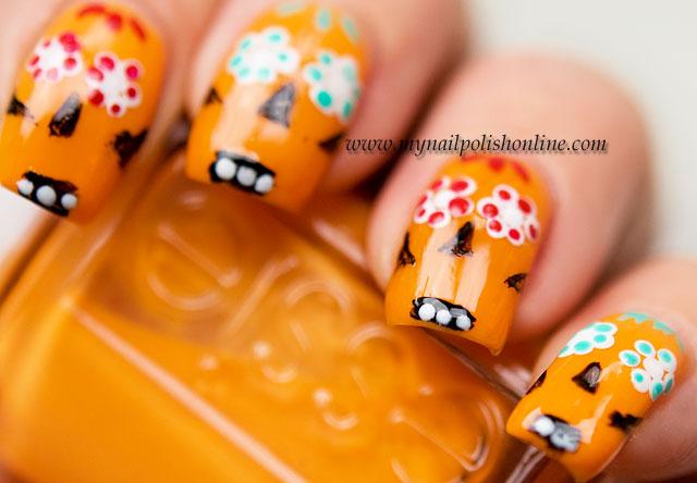 #busygirlnails – Orange Sugar Skulls