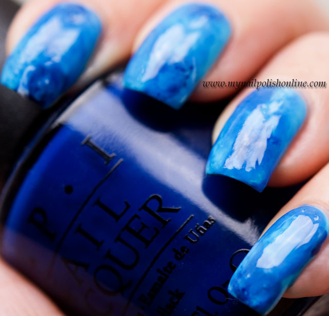 Blue Water Colored Manicure