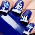 Winter nail art with water decals