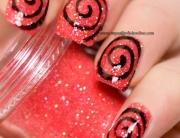 Black spiral on coral loose glitter