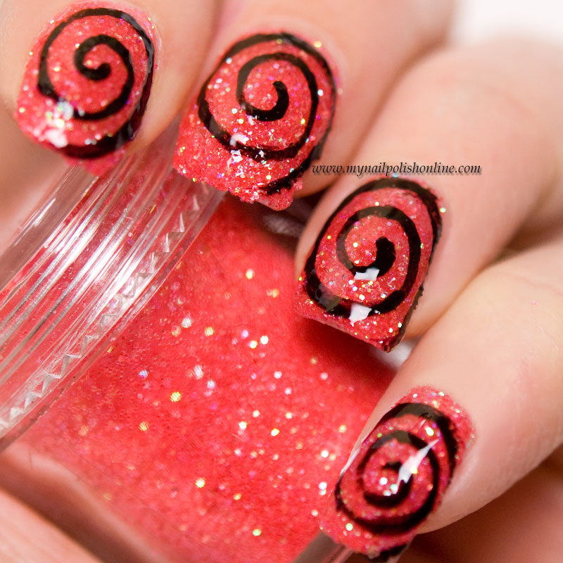 Black spiral on coral loose glitter