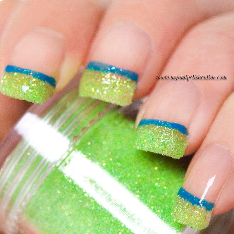 Funky French with green loose glitter