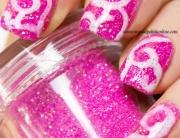 White swirls on pink loose glitter