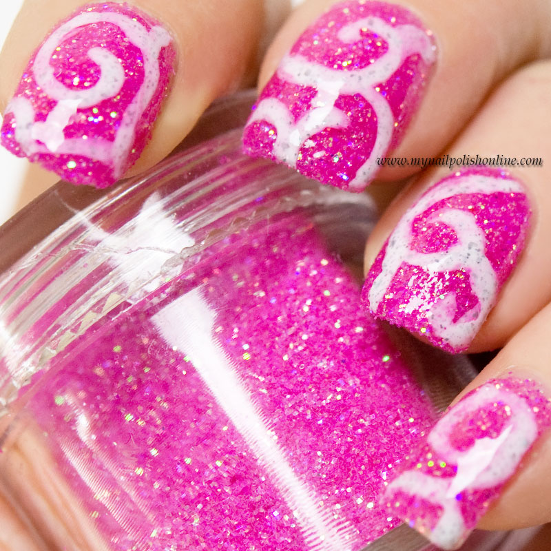 White swirls on pink loose glitter