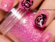 Black roses on pink loose glitter