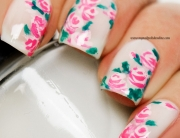 Nail Art with Pink Roses on white
