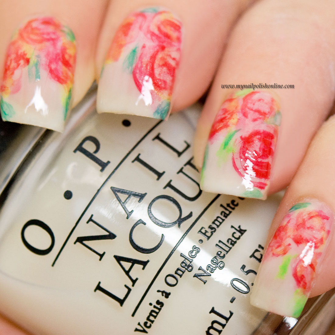 Nail Art - Roses on sheer white - My Nail Polish Online