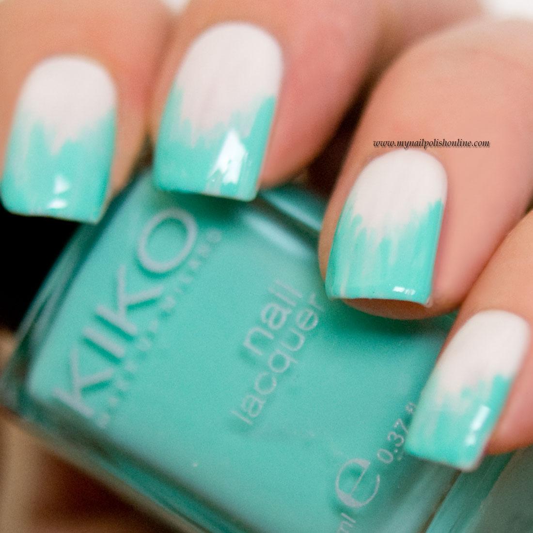 Nail Art - Turquoise Chevron IKATs - My Nail Polish Online