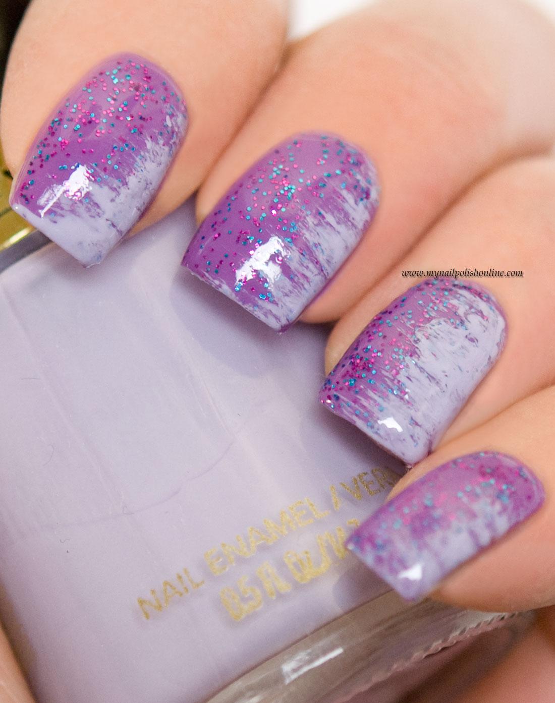Nail Art - Fan brush on purple - My Nail Polish Online