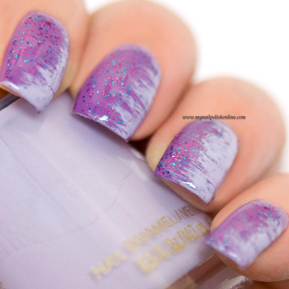 nail art - fan brush on purple