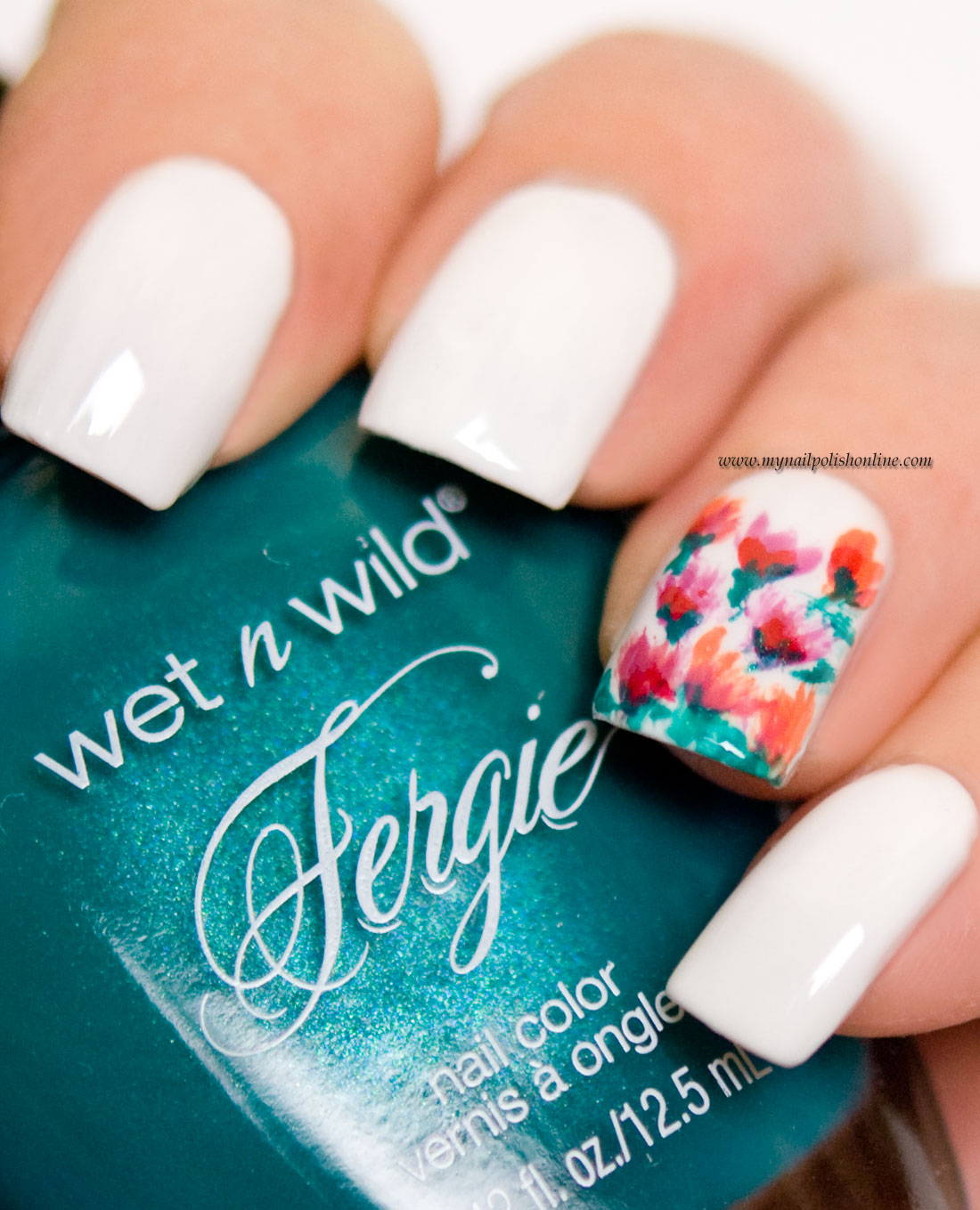 Nail Art - Accent nail with flowers - My Nail Polish Online