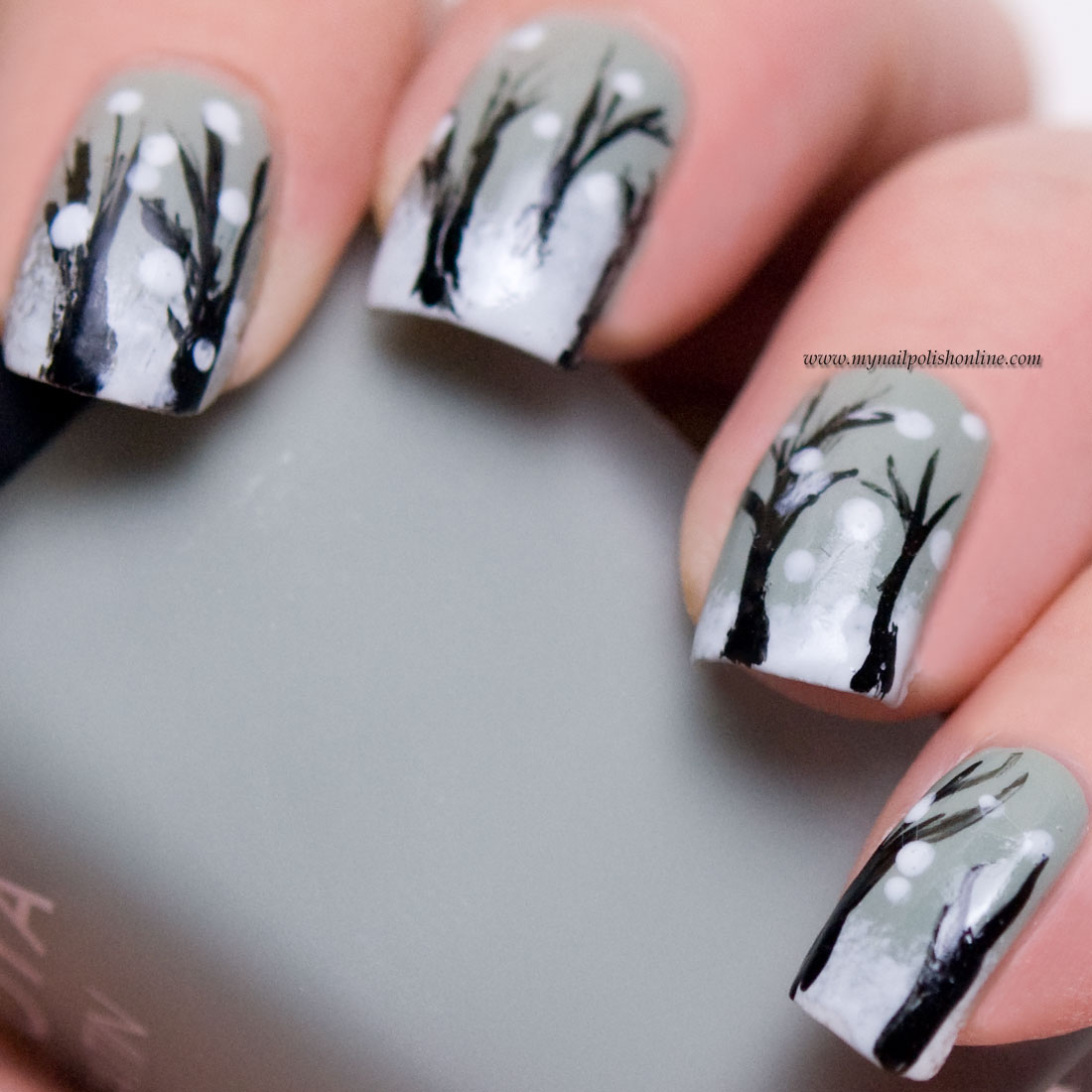 Winter Nail Art: It's Snowing In The Woods!