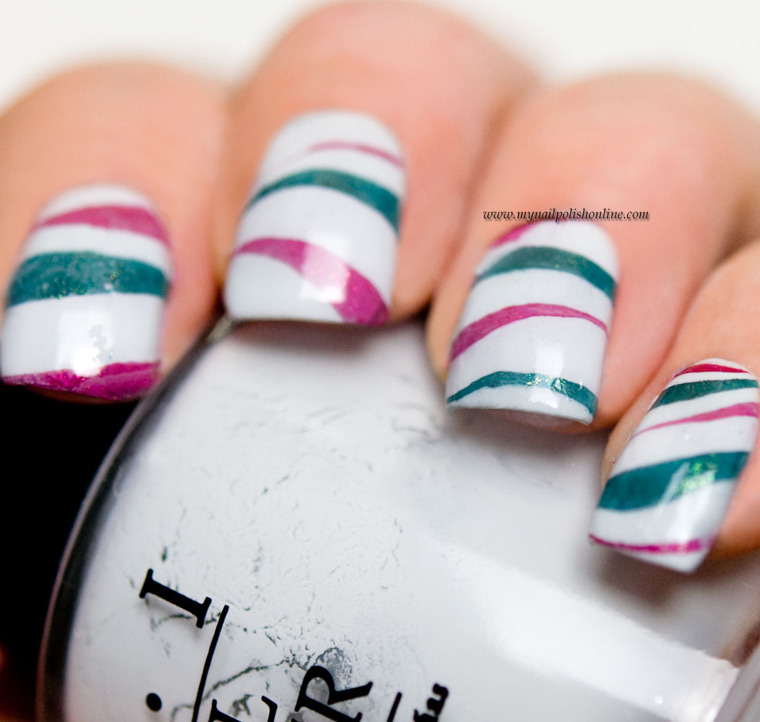 Candy Cane Nails With Water Marbling My Nail Polish Online