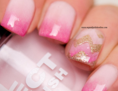 Pink gradient with golden chevrons