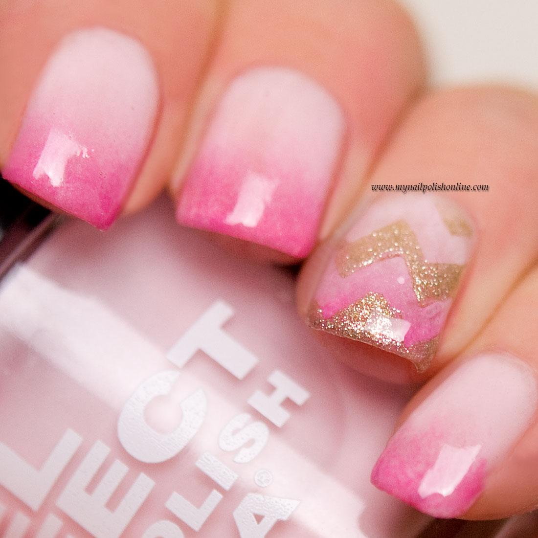 Pink gradient with golden chevrons