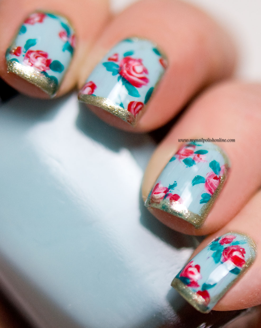 Nail Art – Roses on blue | | My Nail Polish Online