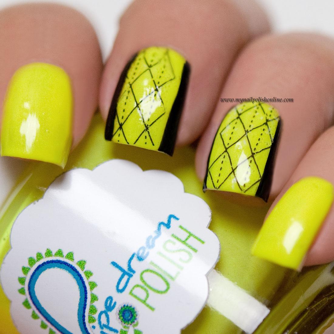 Neon Nail Polish Online: Yellow Neon Nail Art With Nail Tattoos