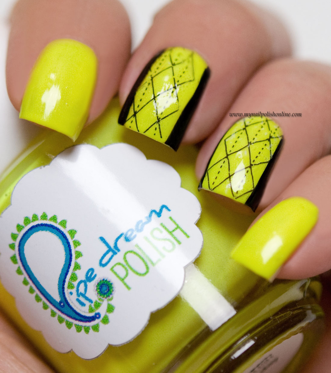 Yellow neon nail art with nail tattoos - My Nail Polish Online
