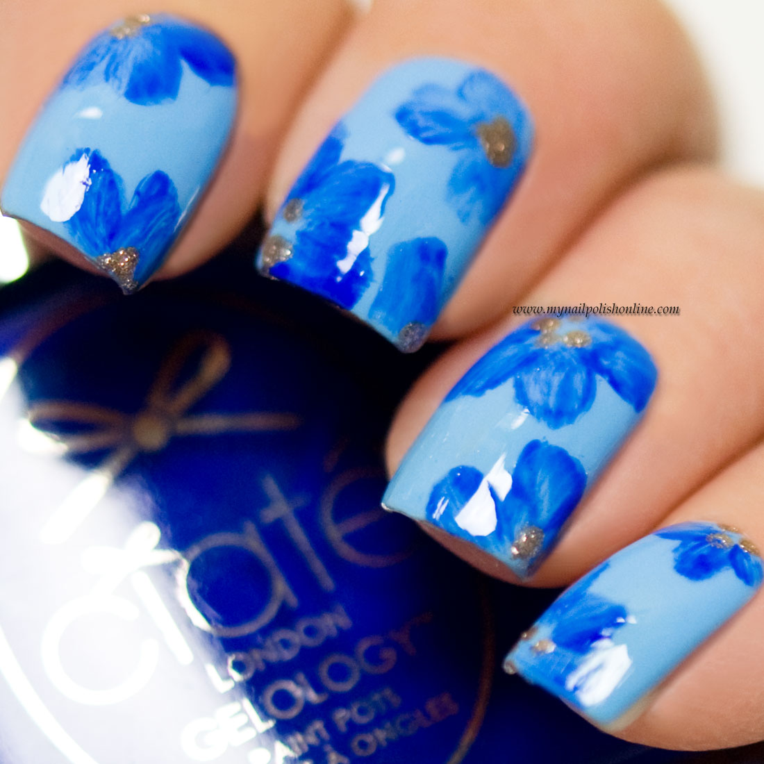 Floral nails -  Blue on blue