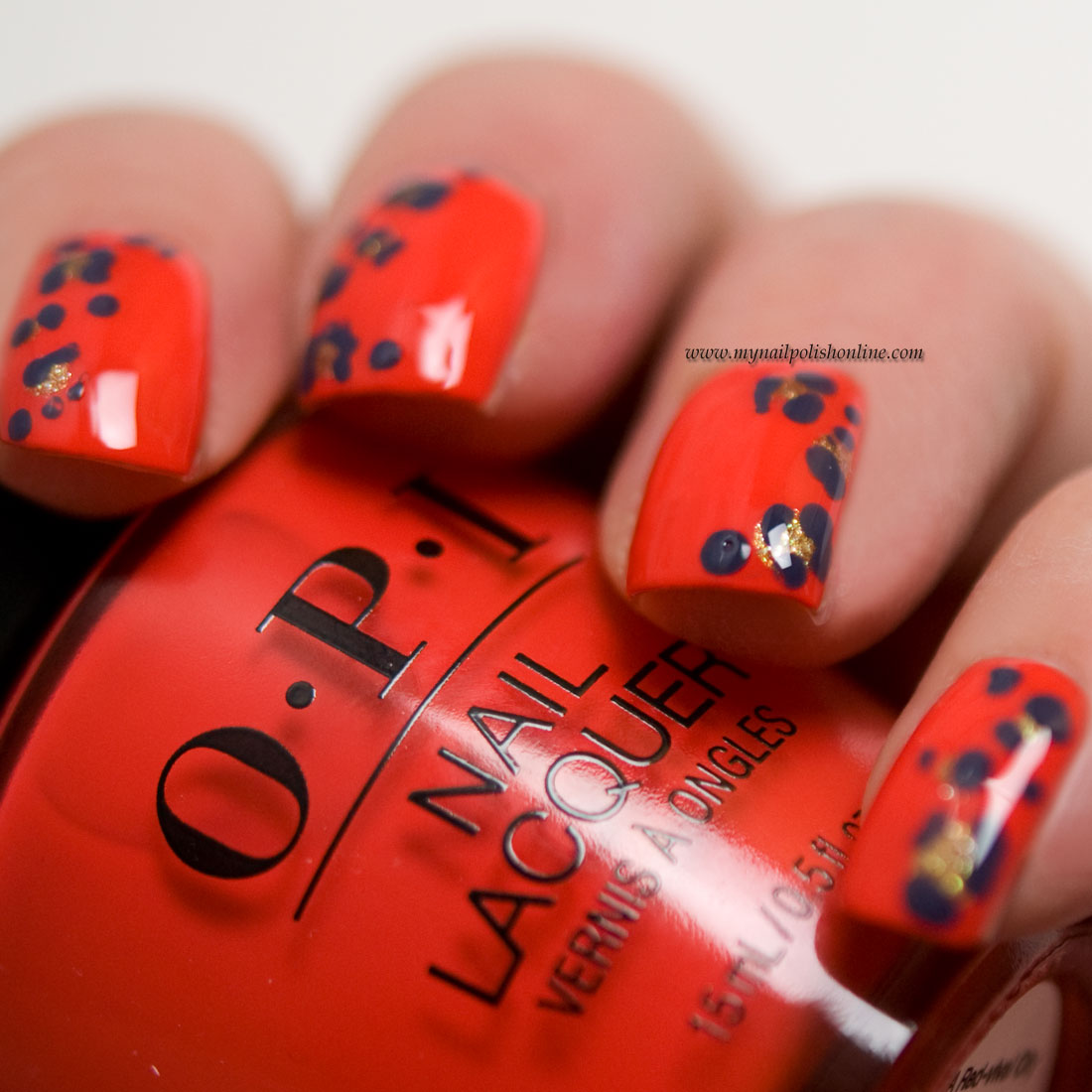 Nail Art with leopard spots